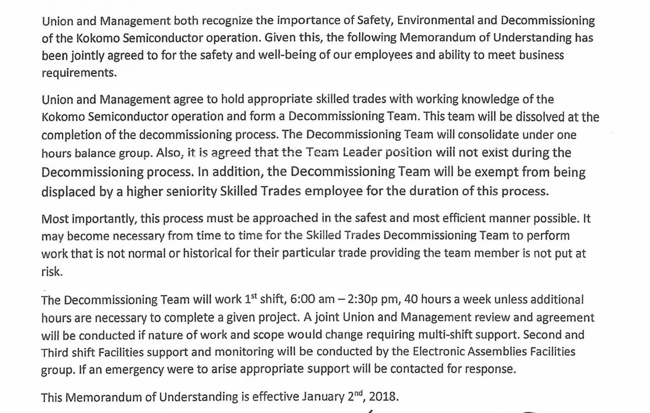 MOU concerning FAB 3 Decommissioning